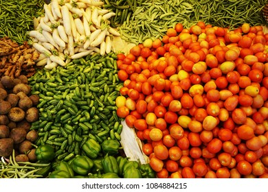 various vegetables for sale in a vegetable market at Yelahanka, Bangalore.