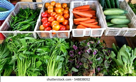 Various vegetables sell in the market.