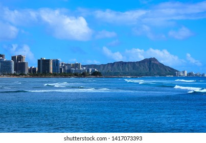 Various view of Diamond Head, Oahu, Hawaii.  From Kapiolani Park, from Waikiki and from off shore.