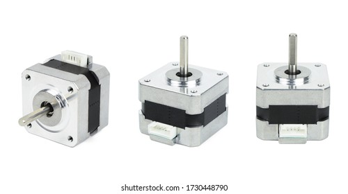 Various views of electrical stepping / stepper motor isolated on white background with clipping path. NEMA standard flange motor for driving axes of CNC machines.