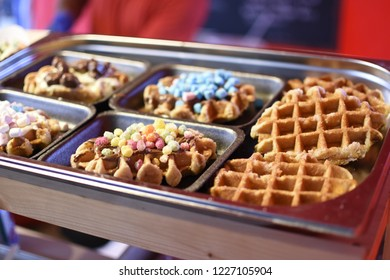 Various Waffles on a Street Food Stall - Exeter, Devon