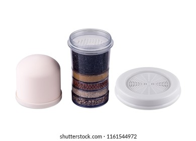 Various water filters for pipes system in house isolated on white