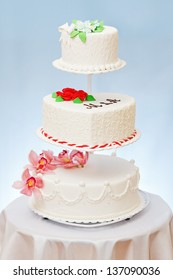 Various wedding cakes models on multi-storied stage