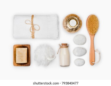 Various wellness and spa threatment products isolated on white background