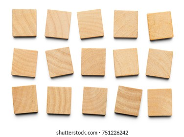 Various Wood Square Tiles with Copy Space Isolated on a White Background.
