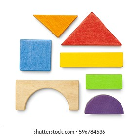Various Wood Toy Block Pieces and Shapes Isolated on White Background.