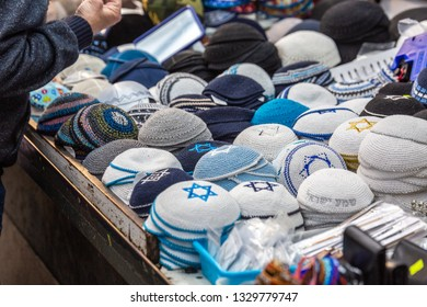 Various yarmulke with davis star on the Mahane Yehuda Market in Jerusalem.