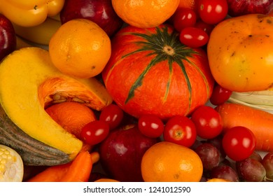 Various Yellow vegetable and fruit close up. Vitamin and Healthy eating concept.