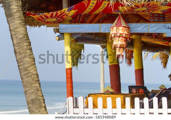 VARKALA, INDIA - JAN 05, 2017: Beach restaurant view in Varkala. Kerala. India