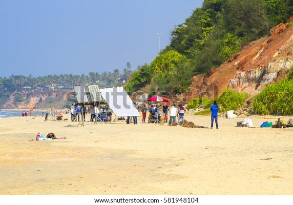 VARKALA, INDIA - JAN 05, 2017: Filming of music clip on beach in Varkala. Kerala. India