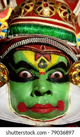 VARKALA, KERALA, INDIA- FEBRUARY 6: Unidentified Kathakali performer in the virtuous pachcha (green) role in Kerala, South India on February 6, 2011. Kathakali is the ancient classical dance form of Kerala.