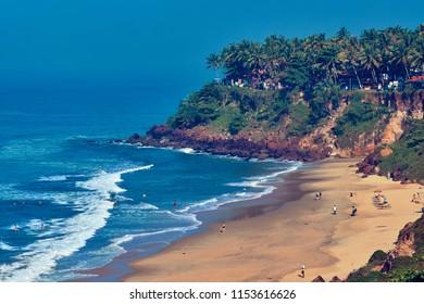 Varkala, Kerala / India – November 30, 2017: View of Varkala beach from cliff. Varkala beach – one of finest India beaches.