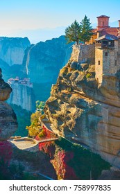 The Varlaam monastery on the top of rock in Meteora in the morning, Greece