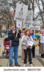 VARNA, BULGARIA, 09.03.2016: A peaceful protest rally organized by the representatives of the Ukrainian diaspora against the illegal imprisonment of N. Savchenko, the Russian occupation in the Ukraine