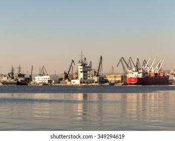 VARNA, BULGARIA - 18 November, 2015: Commercial Sea port of Varna. November 18, 2015 in Varna, Bulgaria