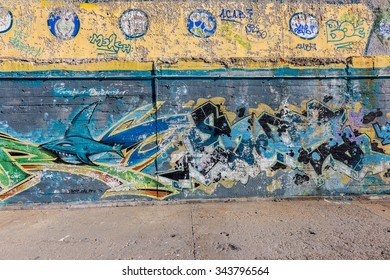 VARNA, BULGARIA - 20 November 2015: The walls of the city are decorated with beautiful graffiti elements of the national Bulgarian history and culture. The element of the cultural policy of Government