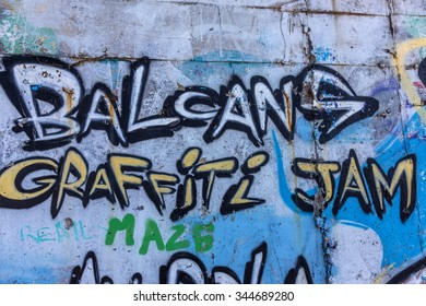 Varna, Bulgaria - 20 November 2015: The walls of the city are decorated with beautiful graffiti elements of the Bulgarian national history and culture. The element of cultural policy