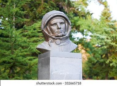 VARNA, BULGARIA, 20.10.2015: Bust pilot and cosmonaut Yuri Gagarin Park in Varna Bulgaria