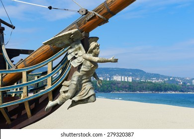 VARNA, BULGARIA : 9 MAY 2015 - Bow figurehead figure of a woman on the boat- restaurant in the city of Varna in Bulgaria
