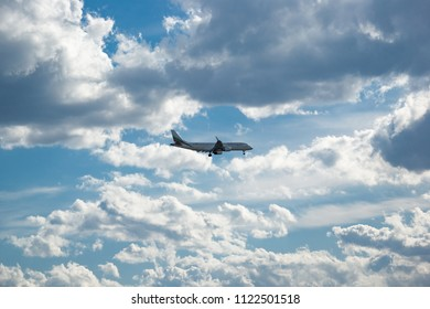 Varna, Bulgaria - Apr 2, 2018: Commercial passenger jet airliner Embraer ERJ-190AR (190-100IGW) E190 of  Bulgaria Air Airlines in flight landing to airport. Dramatic dynamic cloudy sky blue background