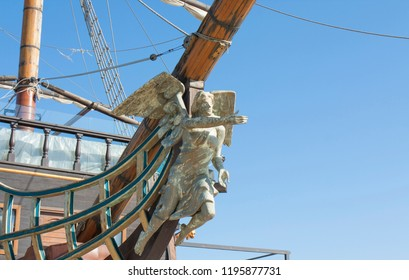 VARNA, BULGARIA - APRIL 11, 2015: Sailing ship with statue of angel on beach