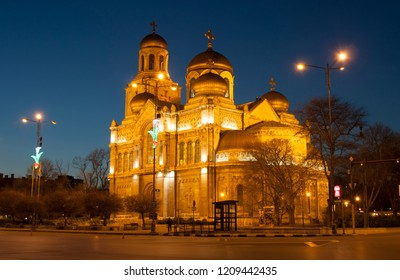 VARNA, BULGARIA - APRIL 11, 2015: Orthodox cathedral of Assumption of the Virgin Mary at night.