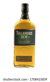 VARNA, BULGARIA - APRIL 14, 2020. Tullamore D.E.W. whiskey bottle, isolated on white background. Tullamore D.E.W. is a brand of Irish whiskey produced by William Grant & Sons.