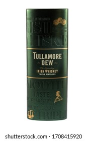 VARNA, BULGARIA - APRIL 14, 2020. Tullamore D.E.W. metal case, isolated on white background. Tullamore D.E.W. is a brand of Irish whiskey produced by William Grant & Sons.