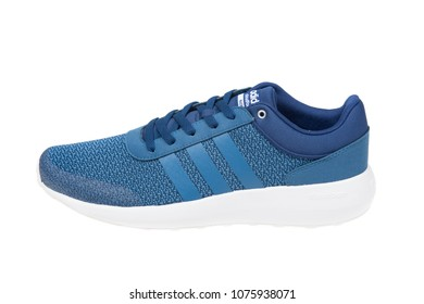 Varna , Bulgaria - APRIL  15, 2018 : ADIDAS CLOUDFOAM RACE FOOTBED sport shoe. Product shot. Adidas is a German corporation that designs and manufactures sports shoes, clothing and accessories