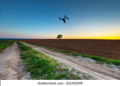 Varna, Bulgaria - April 21 ,2016: Image of DJI Inspire 1 Pro drone UAV quadcopter which shoots 4k video and 16mp still images  and is controlled by wireless remote with a range of 2km