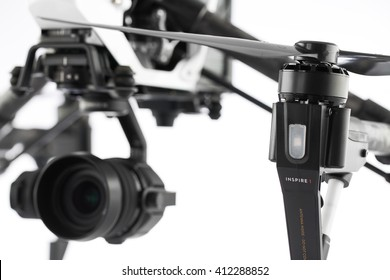Varna, Bulgaria - April 22 ,2016: Image of DJI Inspire 1 Pro drone UAV quadcopter which shoots 4k video and 16mp still images  and is controlled by wireless remote with a range of 2km, isolated