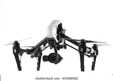 Varna, Bulgaria - April 22 ,2016: Image of DJI Inspire 1 Pro drone UAV quadcopter which shoots 4k video and 16mp still images  and is controlled by wireless remote with a range of 2km