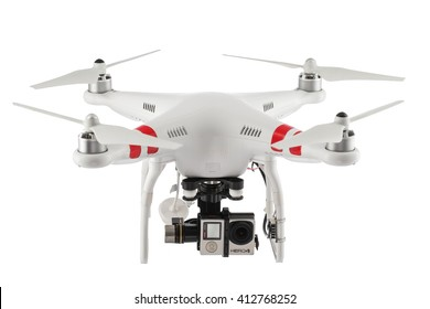 Varna, Bulgaria - April 23 ,2016: Image of quadcopter Dji Phantom 2 with digital camera GoPro HERO4 isolated on white