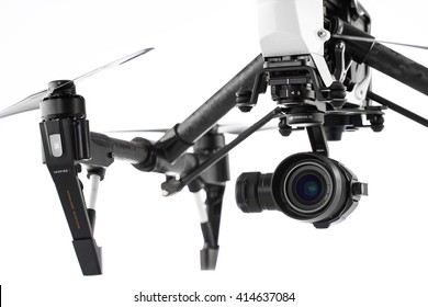 Varna, Bulgaria - April 23 ,2016: Image of DJI Inspire 1 Pro drone UAV quadcopter which shoots 4k video and 16mp still images  and is controlled by wireless remote with a range of 2km, isolated