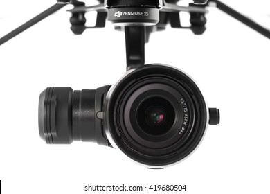 Varna, Bulgaria - April 23 ,2016: Image of DJI Inspire 1 Pro drone UAV quadcopter camera which shoots 4k video and 16mp still images  and is controlled by wireless remote with a range of 2km,