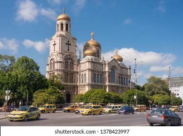 Varna, Bulgaria - April 23, 2019: The Cathedral of the Assumption (also known as the Dormition of the Theotokos Cathedral) - one of the most famous landmarks of Varna.
