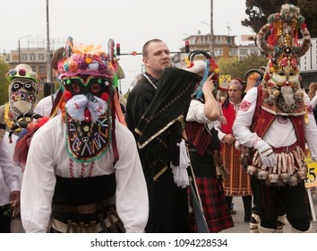 VARNA, BULGARIA - APRIL 29, 2017: Carnival Holiday of masks, carnival and theater costumes and national costumes
