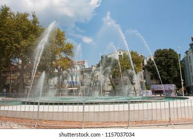 VARNA, BULGARIA - AUGUST 14, 2015: Fountain on Independence square Varna Bulgaria