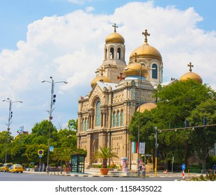 VARNA, BULGARIA - AUGUST 14, 2015: Orthodox cathedral of Assumption of the Virgin Mary,