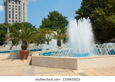 VARNA, BULGARIA - AUGUST 14, 2015: Fountain on Maria-Luisa boulevard