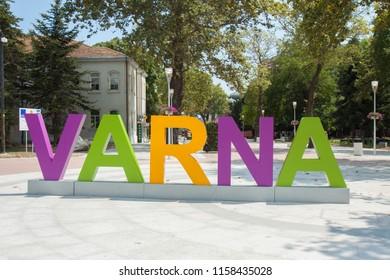 VARNA, BULGARIA - AUGUST 14, 2015: Letters with name of town on Letters with name of town on Saints Kirill and Mefody square in city centre, Varna, Bulgaria