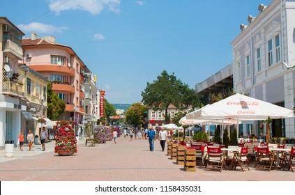 VARNA, BULGARIA - AUGUST 14, 2015: Knyaz Boris I boulevard - main touristic street in city centre