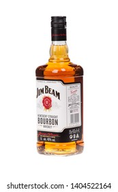 VARNA, BULGARIA - AUGUST 17.2016: Photo of a bottle of Jim Beam Bourbon, isolated on white. Jim Beam is an American brand of bourbon whiskey produced in Clermont, Kentucky.