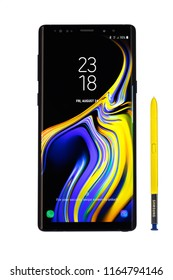 Varna, Bulgaria - August, 24, 2018: Studio shot of Samsung Galaxy Note 9 smartphone, with 12 MP, f 1.5, 26mm and 12 MP, f 2.4 52 mm dual Camera, Octa-core 4x2,7 GHz and 1440 x 2960  Display Resolution