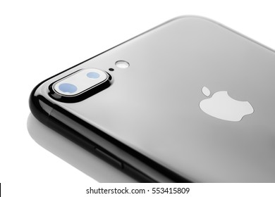 Varna, Bulgaria - December, 04, 2016: Studio shot of a black Iphone 7 plus, with Dual 12 MP Camera, quad-core 2,23 GHz and 1080 x 1920 pixels Display Resolution