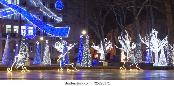 VARNA, BULGARIA - DECEMBER 19, 2016:  illuminations for Christmas and New Year holidays on the street.