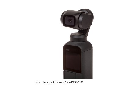 Varna, Bulgaria - December 28, 2018: Newly released DJI Osmo Pocket, isolated on white background. Osmo pocket is the smallest 3-axis stabilized handheld camera