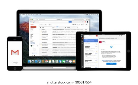 Varna, Bulgaria - February 02, 2015. Google Gmail app on the Apple iPhone iPad displays and desktop version of Gmail on the Macbook Pro. Gmail is a free e-mail service. Multiple devices kit.