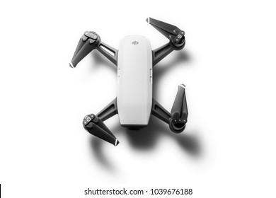 Varna, Bulgaria - February 17 ,2018: Flying drone quadcopter Dji Spark is mini drone that features all of DJI's signature technologies, isolated on white