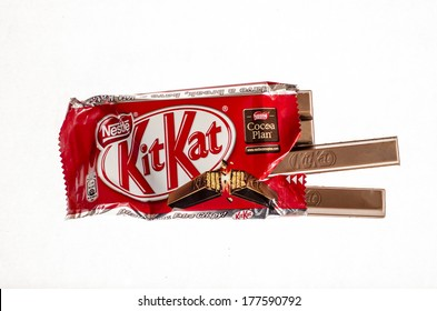 VARNA, BULGARIA - FEBRUARY 19, 2014: Opened Kit Kat chocolate bar. Kit Kat is a chocolate biscuit bar confection that is manufactured by Nestle